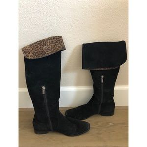Black Over the Knee Boots with Leopard Print Fold